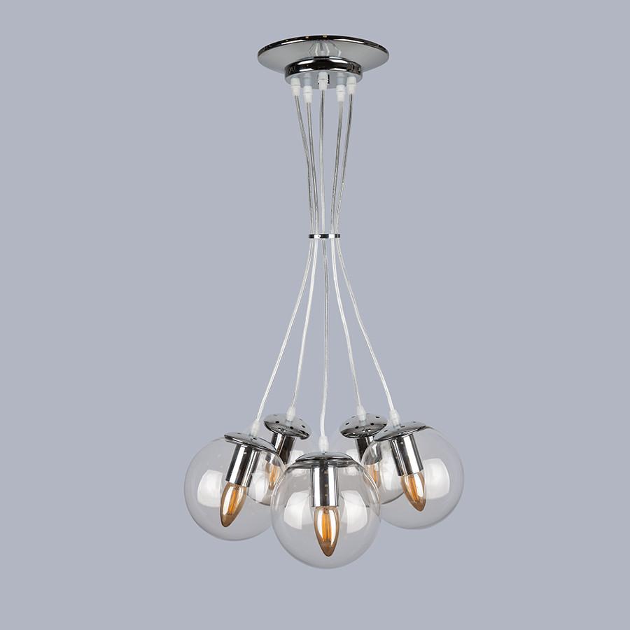 Серебряная люстра на пять прозрачных шаров