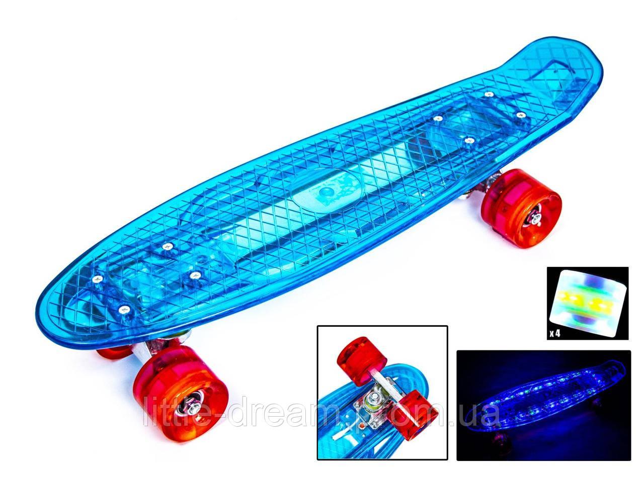 """Пенниборд-скейт Penny Board """"Led"""". Синий цвет. Дека и колеса светятся!"""