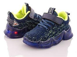 Кроссовки на силиконовой подошве с подсветкой для мальчика CSCK.S (синий-салатовый)размеры 25,26,27,28,29,30