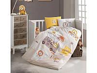 Комплект постельного белья в детскую кроватку из ранфорса 100*150 ТМ Aran Clasy LION