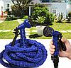 Компактный растягивающийся садовый шланг для полива MAGIC HOSE 30m синий, фото 10