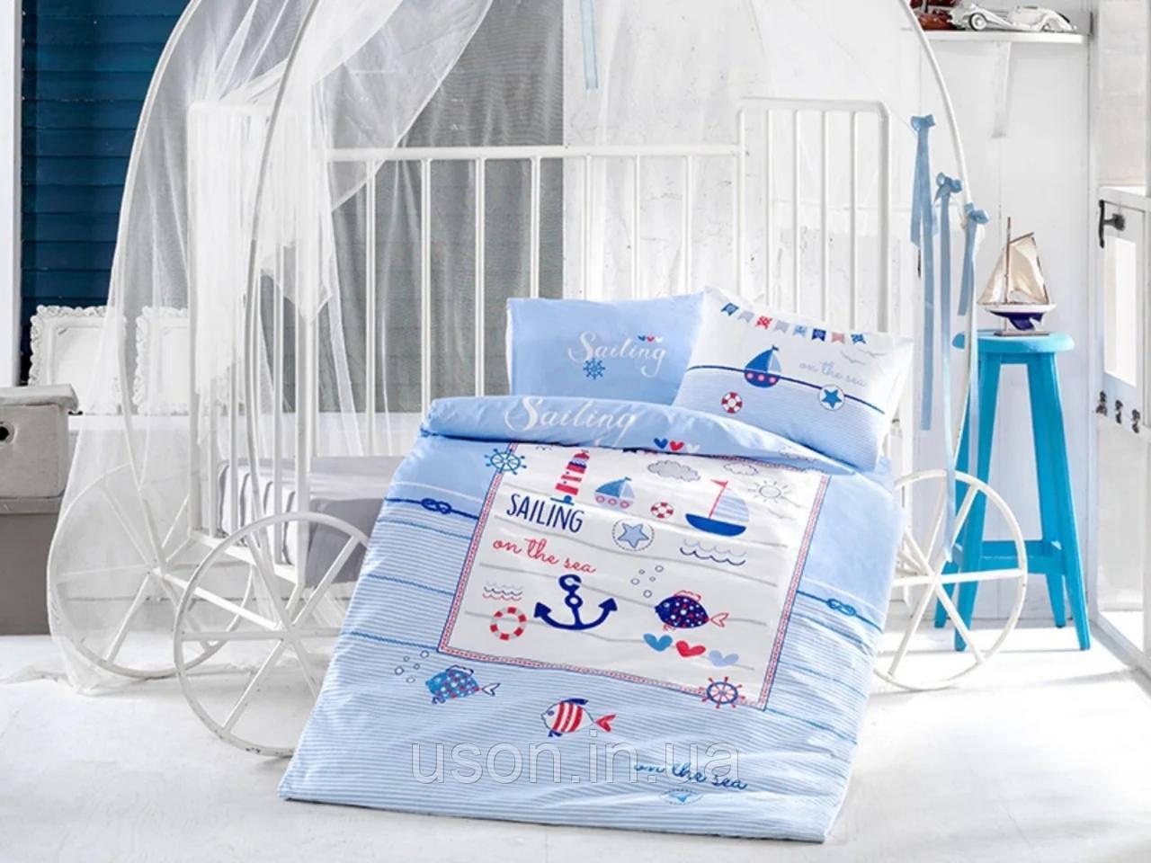 Комплект постельного белья в детскую кроватку из ранфорса 100*150 ТМ Aran Clasy SAILING FISH