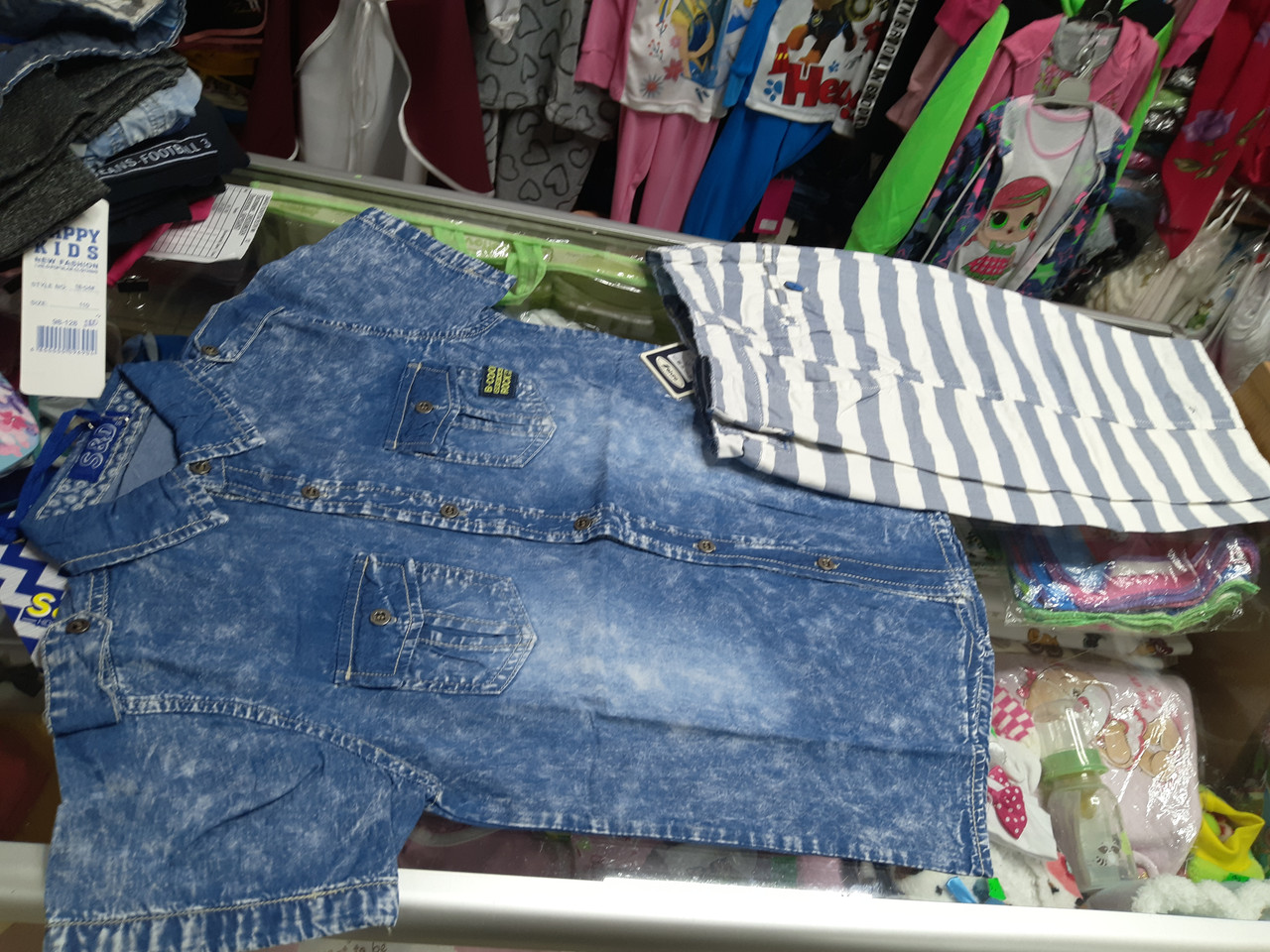 Летний детский костюм для мальчика Шорты и джинсовая рубашка р.128 - 164