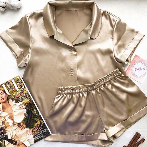 Піжама жіноча атласна на гудзиках. Комплект шовковий для дому, сну, розмір M (коричнева)