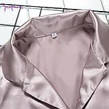 Піжама жіноча атласна на гудзиках. Комплект шовковий для дому, сну, розмір M (коричнева), фото 5