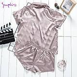 Піжама жіноча атласна на гудзиках. Комплект шовковий для дому, сну, розмір M (коричнева), фото 2