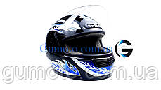 Шлем для мотоцикла Hel-Met WLT 106 черный с синим размер S, фото 3