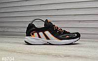 Кроссовки мужские Adidas Galaxy в стиле Адидас Гелекси, замша, код ТD-8704. Черные с оранжевым