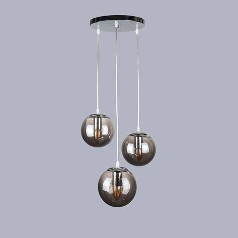 Серебряная люстра на три чёрных шара, фото 2