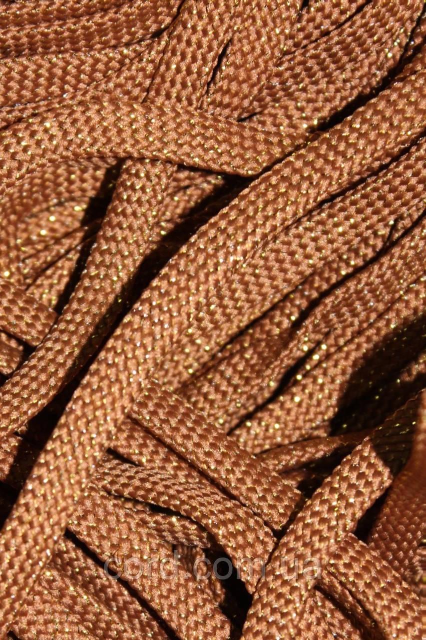 Шнур плоский чехол 8мм (100м) горчица с золотом