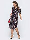 Летнее прямое платье с коротким рукавом и закругленным низом, фото 7