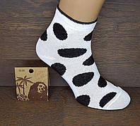 """Шкарпетки жіночі середньої висоти """"Горошки"""". Чорний на білому. (Роздріб)."""