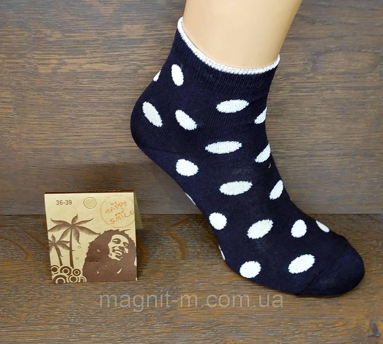 """Шкарпетки жіночі середньої висоти """"Горошки"""". Білий на чорному. (Роздріб)."""