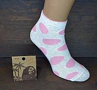 """Носки женские средней высоты """"Горошки"""". Розовый на сером. (Розница)."""