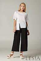Летние льняные брюки-кюлоты черные Lesya Макао 4