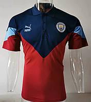 Мужская спортивная футболка поло, 2020 Ман Сити сине-вышневый
