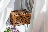 """Весільна скринька для грошей з фанери """"Метелики"""", Ручна робота, ЗОЛОТА, з замочком та ключем, 30*20*20см"""