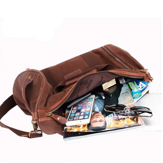 Дорожня брезентова сумка Augur коричневого кольору
