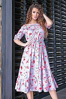 Платье летнее с цветочным принтом, арт.199, цвет- светло серый (№08)