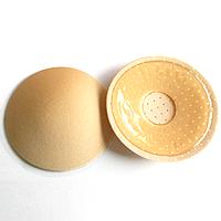 Многоразовые силиконовые наклейки на грудь с тканевым покрытием и перфорацией, телесный круг