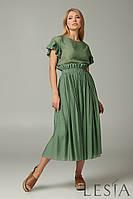 Стильный женский летний  костюм из блузона и юбки на резинке зеленый  Lesya Ронет