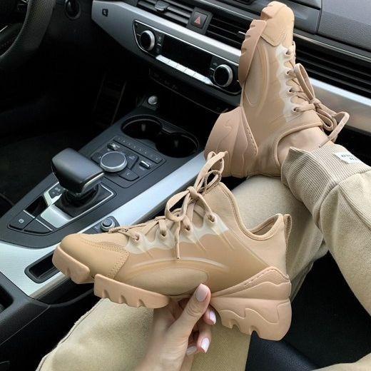 Женские кроссовки в стиле Christian Dior D-Connect бежевые