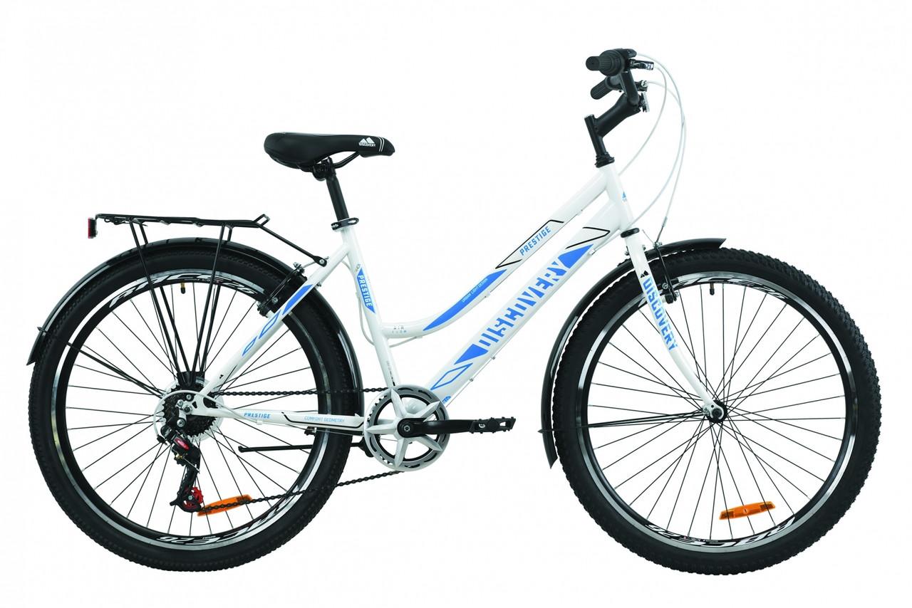 """Велосипед городской женский 26"""" Discovery Prestige Woman 2020 рама 17"""" бело-голубой"""