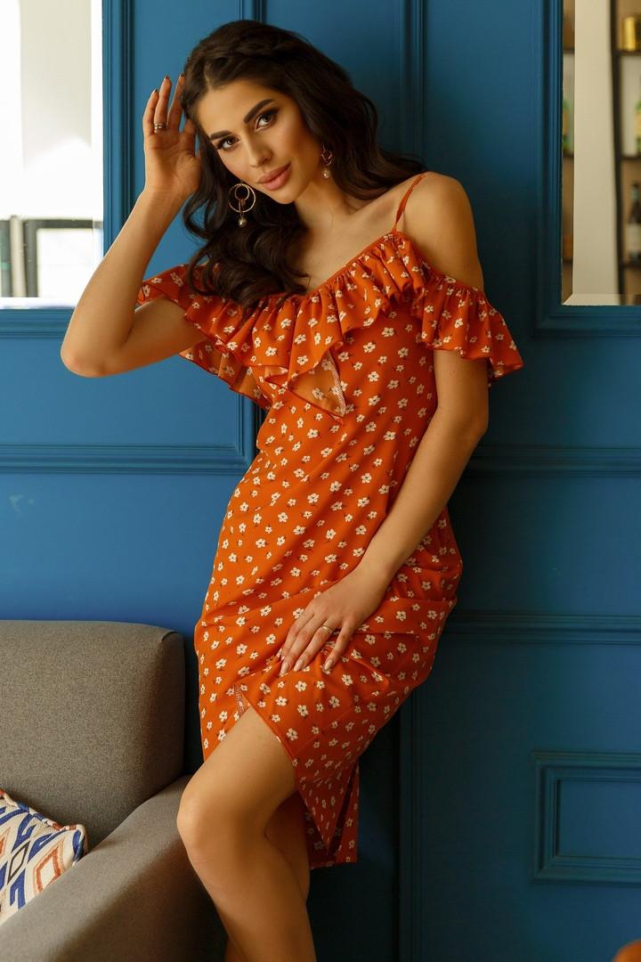 Женское летнее платье с открытыми плечами.Размеры:42/44,44/46.+Цвета