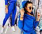 """Женский спортивный костюм двухнить в больших размерах 7029 """"Капюшон Змейка Ленты Надписи"""" в расцветках, фото 5"""