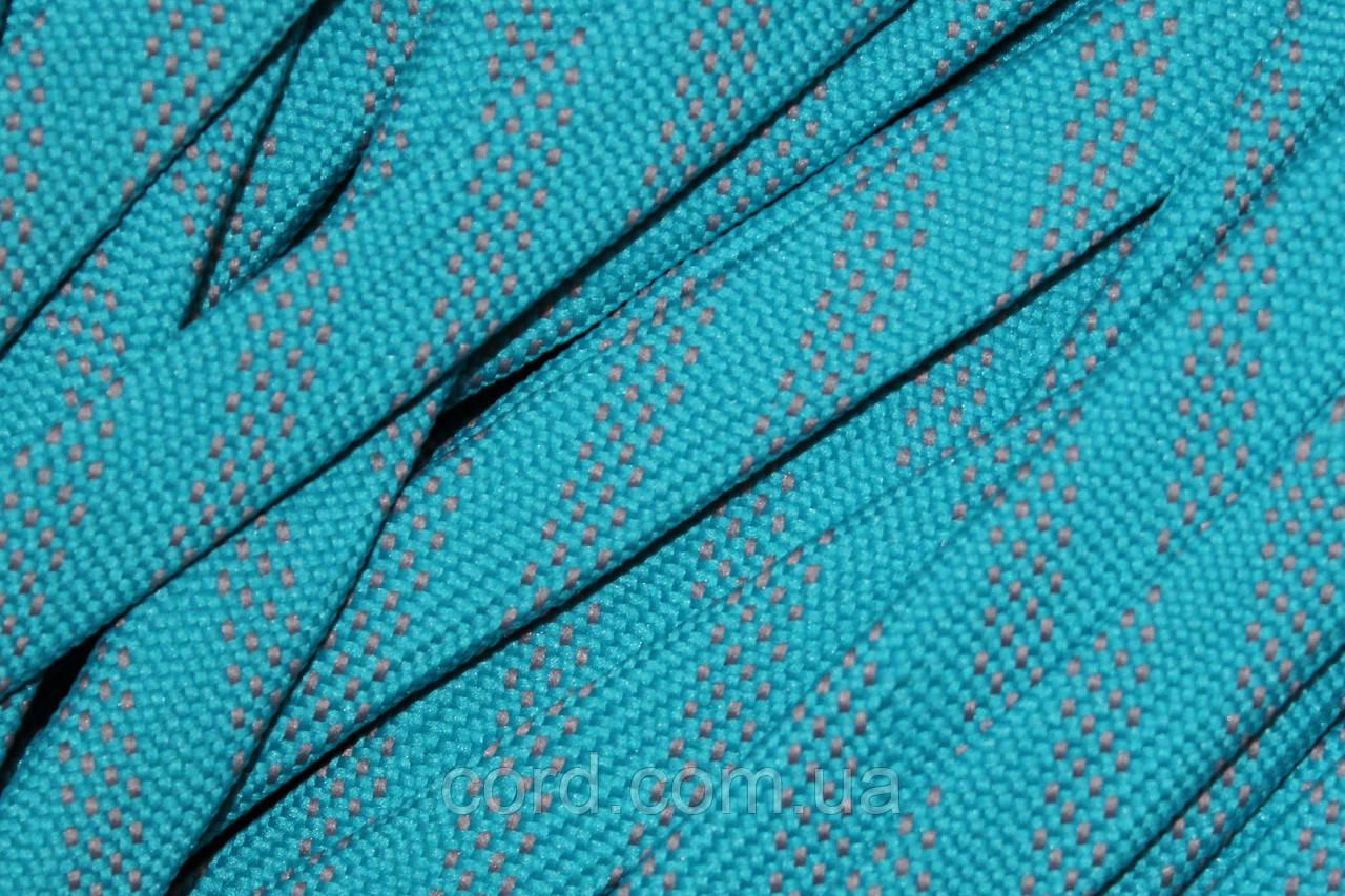 Шнур плоский чехол 15мм (100м) мор волна с светло серым