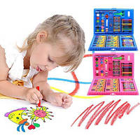 Набор художника для рисования и творчества 86 предметов розовый