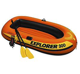 Двухместная надувная лодка Intex, Explorer 300 211х117 cм, с веслами и насосом