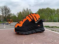 Мужские кроссовки мокасины Puma черные с оранжевым