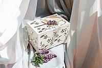 """Скринька для грошей на весілля """"Барвінок"""", БІЛА, Ручна робота, з замочком та ключем, Дерево, 30*20*20см"""