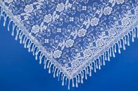 Свадебный белый платок с камнями №14