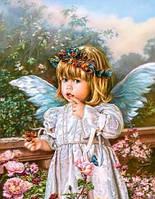 Алмазная живопись Очаровательный ангелочек, размер 40*50 см, забивка полная, стразы квадратные, фото 1