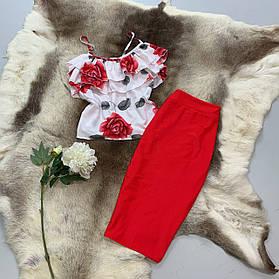 Костюм юбочный с блузой с рюшами BRТ1735
