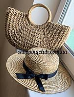 Комплект сумка из рафии и соломенная шляпа канотье с полями 8 см