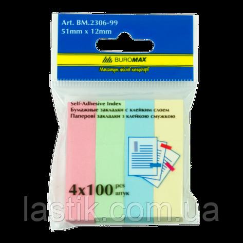 Закладки бумажные PASTEL, с клейким слоем, 51x12 мм, 4 цв. по 100 л., фото 2