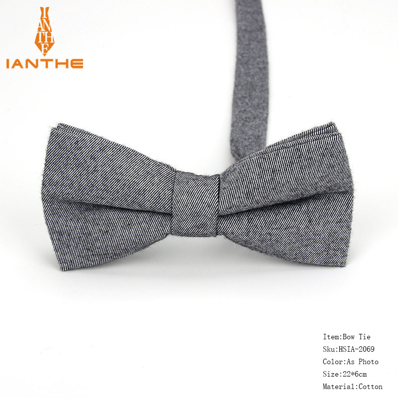 Чоловіча краватка-метелик сірий бавовна