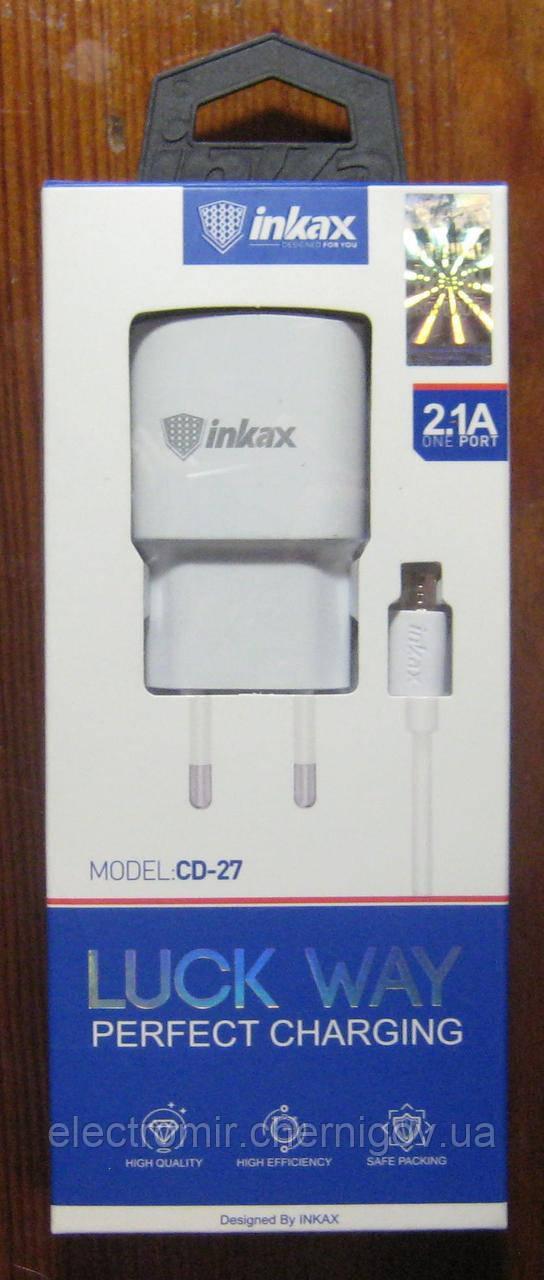 Сетевое зарядное устройство Inkax CD-27 2.1А (адаптер + шнур)
