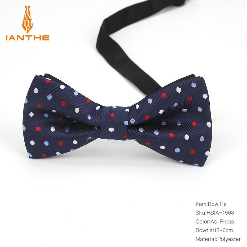Чоловіча краватка-метелик синя в горошок