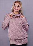 Муза. Кофточка с шарфом для женщин плюс сайз. Пудра., фото 1
