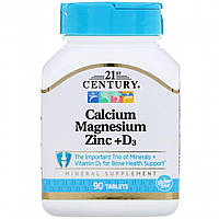 Кальций Магний Цинк + Д3, Cal Mag Zinc + D3, 21st Century, 90 таблеток