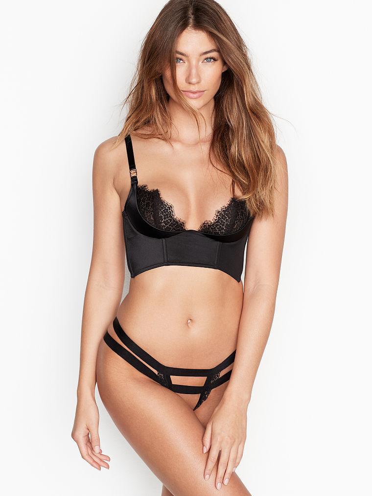 Кружевные открытые трусики стрепы Victoria's Secret art779343  (Черный, размер XS)