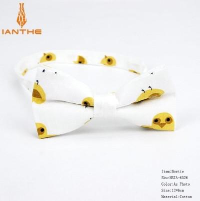Мужской галстук-бабочка белая с принтом Цыпленка