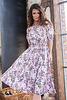 Платье летнее с цветочным принтом, арт.199, цвет- светло сиреневый (№10)