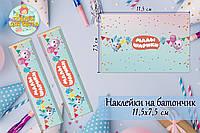 """Наклейки """"Малышарики"""" (11,5*7,5см) тематические на шоколадку-батончик малотиражные (Розово-голубой)-"""