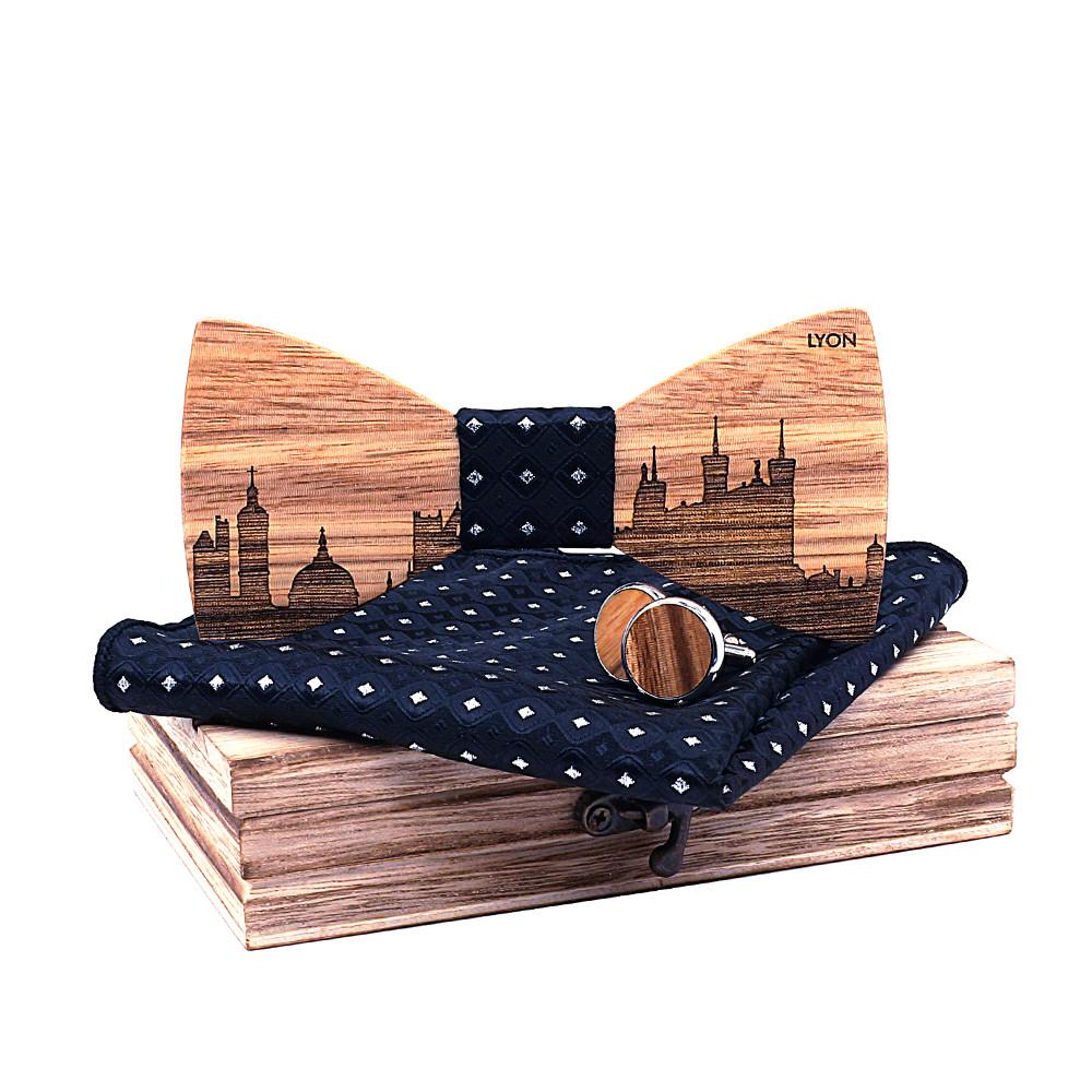 Набір чоловіча краватка-метелик, запонки і хустку