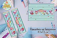 """Наклейки """"Малышарики"""" (11,5*7,5см) тематические на шоколадку-батончик  (мятный)малотиражные издание-"""